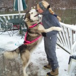 Diana kissing dog in snow. Winward Malamutes.