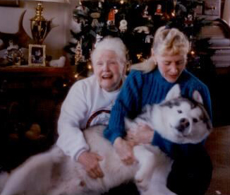 Winward's Buddy snuggles with Diana and Grandma