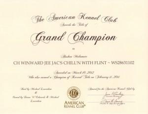 Flint Grand Champion Certificate